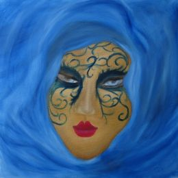 Mask with a Blue Scarf (size: 20 x 20)