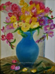 Flowers in a Blue Ewer (size: 16 x 20)