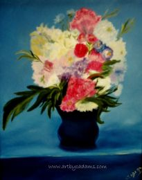 Flowers in a Blue Vase (size: 16 x 20)