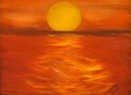 Sunset on the water (size: 16 x 20)