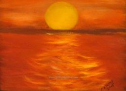 Sunset on the water (size: 11 x 14)