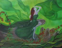 Woman in a Green Dress (size: 32 x 24)